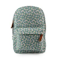CrazyPomelo Sweet Little Flowers Cotton Cloth Backpack (Light Green)