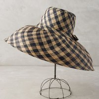 Checkered Sun Hat by Anthropologie in Black & White Size: One Size Hats