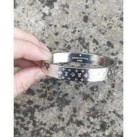 LV tide brand men and women classic embossed printed bracelet silver