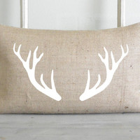 White Antlers Natural 16 x 26 Pillow Cover