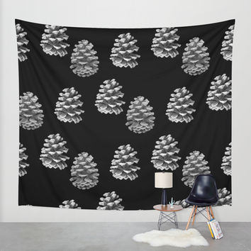 Pine Cones Monochrome on Black Wall Tapestry by Lisa Argyropoulos   Society6