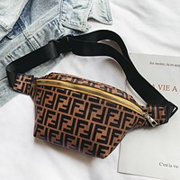 Fendi Fashion New Women Men Leisure Shoulder Bag Waist Bag Brown