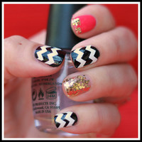 1 Sheet of 44 Chevron Nail Decals You Pick by MadeByMunchiesMama