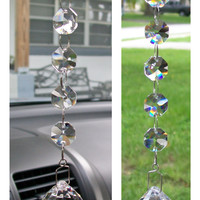 Window Glass Prism, Art Glass Window Hanging, Suncatcher crystals, Crystal Mirror Car Charm, Rearview Mirror Accessories, Car Accessories