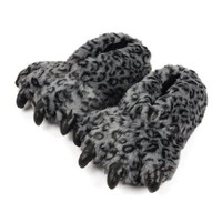 ZLYC Personalized Fuzzy Bear Paw Fleece Slippers (M length: 32cm, D)