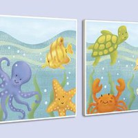 Happy Sea Wood Wall Art (Set of 2) (1147) - Illuminada