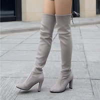 Faux Suede Slim Thigh High Boots
