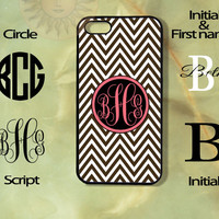 Monogram Dark Brown Chevron-iPhone 5, 5s, 5c, 4s, 4 case, ipod touch 5, Samsung GS3, GS4 case-Silicone Rubber or Plastic Case, Phone