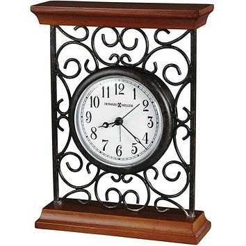 """8""""H Mildred Table-top Clock Warm Gray on Cherry"""