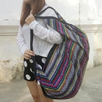 Backpack Cross Body Bag Tribal Hmong Woven Boho Hippie Ethnic Rucksack Indian Hipster Bags Hippie Purse Aztec Gypsy Shoulder Nepali Patterns