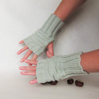 Gray green knit mittens Winter warm mittens Wool knitting fingerless glove Gift idea for woman or girl