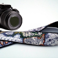 Black DSLR / SLR Camera Strap. World Map Camera Strap. Camera accessories. Photographer gift. Map. Australia. North America.