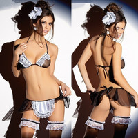 Women's Sexy Lingerie Dress Sleepwear Lace Sheer Naughty Maid Intimates (Size: M, Color: Brown) = 1931878020