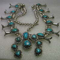 """Vintage Sterling Silver Naja Turquoise Squash Blossom Necklace, Native American/Southwestern, 27"""""""