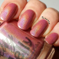 Roseate: Custom Strong Linear Holographic Rose Pink Neutral Indie Nail Polish