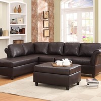 A.M.B. Furniture & Design :: Living room furniture :: Sofas and Sets :: Leather sectionals :: 2 pc Levan Collection dark brown bi-cast vinyl upholstered sectional sofa set with wrap around back and curved arms