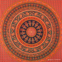 Red Elephant Floral Indian Mandala Tapestry Wall Hanging Bed Cover