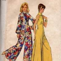 Retro Disco Fashion 70s Bell Bottom Wide Leg Jumpsuit Pantsuit Halter bodice Bare Shoulder Empire Waist Simplicity Sewing Pattern 5570