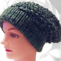 Winter Hat, Green Hat, Green Slouchy, Black Hat, Black Slouchy, Silver Hat, Silver Slouchy, Winter Slouchy, Knitted Hat, Chunky Hat, OOAK