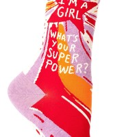 I'm A Girl What's Your Superpower? Women's Crew Socks