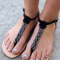 Sandy Beach Sandals: Black