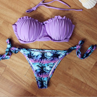 Sexy Purple Women Push up Swimsuit Ladies Bathing suit = 1945919492