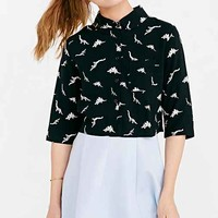White Pepper Dinosaur Cropped Button-Down Shirt- Black