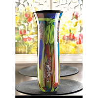 Magnificent Peacock Tail Feathers Regal Art Glass Vase