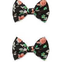 FOREVER 21 Tropical Floral Bow Hair Clip Set Black/Multi One