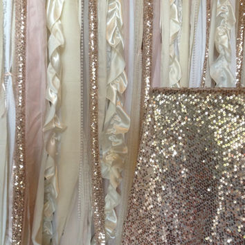 Pink Blush Sequin Ivory White Wedding Fabric Party Garland Curtain Backdrop - Baby Shower, Nursery - 5ft x 6ft