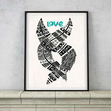 United Love Typography Inspirational Quote Art Print – 8 x 10 or 11 x 14 Poster