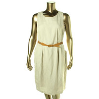 NY Collection Womens Plus Linen Blend Sleeveless Casual Dress