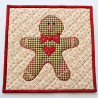 Quilted Christmas Trivet, Gingerbread Hot Pad, Insulated Trivet, Pot Holder, Candle Mat, Country Home Decor, Quiltsy Handmade