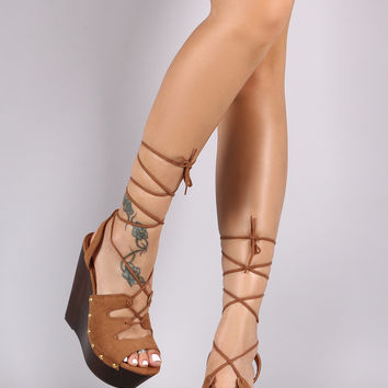 Wild Diva Lounge Nail Studded Vegan Suede Lace Up Wedges
