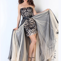 Strapless Floral Satin Top Formal Prom Dress Xcite 30408