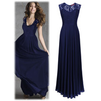 Summer Hot Sale Sleeveless Hollow Out Backless V-neck Prom Dress [9344405444]