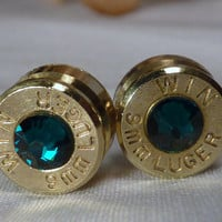 Bullet Earrings. May Birthstone. Emerald . 9mm Luger. FREE SHIPPING