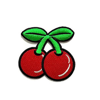 Couple Red Cherry Cute Patch - Fruit New Iron On Patch Embroidered Applique Size 7cm.x6.8cm.