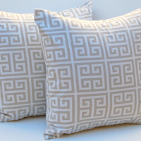 Throw Pillow Covers Greek Key Decorative Pillows Set of two 16 x 16 Inches Tan and White Greek Key