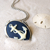 Anchor Necklace - Navy blue and ivory anchor cameo - also a brooch