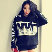 Goth Punk Autumn Womens NYC Digital thick fleece sweater loose long-sleeved Casual Sweatshirt Tops Blouses = 1920425476