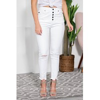 White High Waist Cropped Ankle Jeans