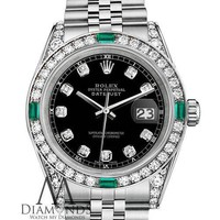 Rolex Datejust 36mm Stainless Steel Black Emerald Diamond Dial With A Track