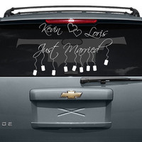 Custom Personalized Vinyl Car Decal Design / Just Married with Names and Cans Sticker / Decals Back Window Mirror + Free Random Decal Gift!