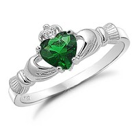 Sterling Silver with Simulated Emerald Claddagh Ring-Size 7