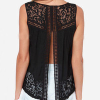 Black Round Neck Split Back Lace Tank Top