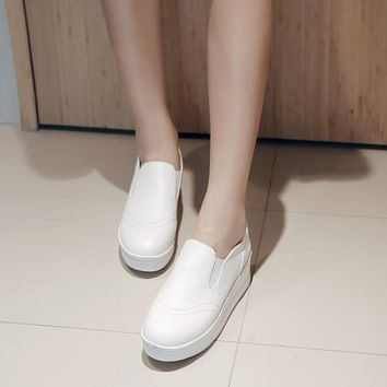 PU Leather Women Wedges Loafers Platform Shoes