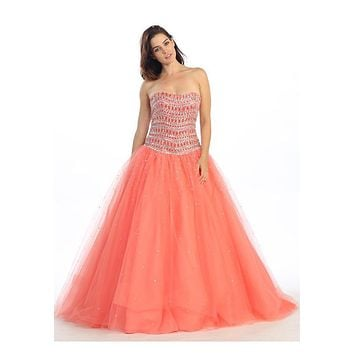 ON SALE - Strapless Studded Bodice Coral Long Quinceanera Gown