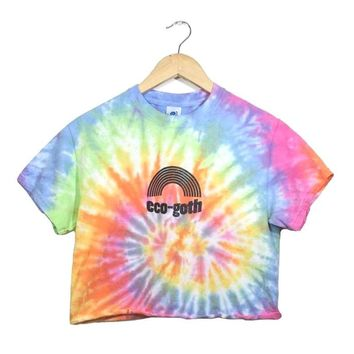 Eco Goth Pastel Rainbow Tie-Dye Graphic Unisex Crop Top