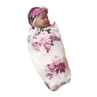 Baby Girl Floral Swaddle Blanket & Headband Set